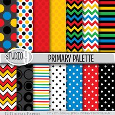 Digital Paper: PRIMARY PALETTE Patterns Pattern Print, Instant Download, Patterns Backgrounds Scrapbook
