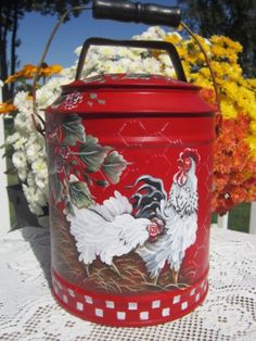 Vintage Milk Can Creamer Hand Painted French Country Red Rooster Raspberries HP