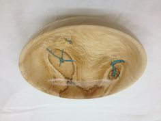 Maple bowl with turquoise fill