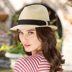 Fashion straw panama hat for women with bow