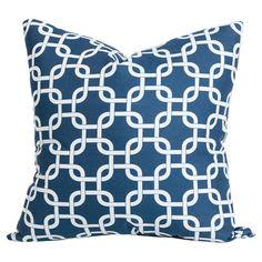 Links Indoor/Outdoor Pillow in Navy Blue