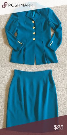 Evan Picone 2 Piece Blazer and Skirt Beautiful blue color. Jacket has open pleats around the bottom 100% Polyester Evan Picone Jackets & Coats Blazers