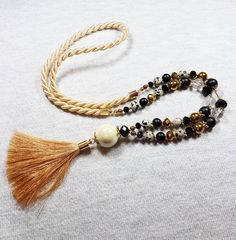 Light brown necklace, Long tassel necklace, Rope necklace, Matte onyx necklace, Jasper necklace, Crystal quartz necklace, Casual necklace by GentleColorsJewelry on Etsy