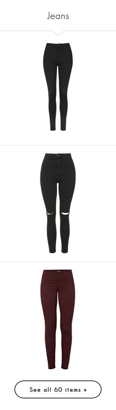 """""""Jeans"""" by ines-louu ❤ liked on Polyvore featuring pants, leggings, jeans, bottoms, calça, trousers, black, topshop, high waisted leggings and button down pants"""