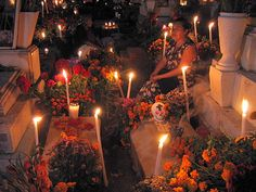 Starting at midnight November 1st, families visit the graves of the deceased, bringing their favorite foods. This tradition dates back before Christian times. From http://gomexico.about.com/od/oaxaca/ss/day_of_the_dead_in_oaxaca.htm