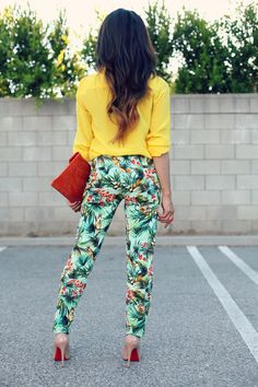 Yellow Top & Patterned Pants