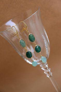 orecchini argento 925 bagno oro radice smeraldo calcedonia