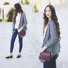 Zara Cardigan, Mango Bag, Pull & Bear Blouse, Pull & Bear Jeans, Stradivarius Shoes