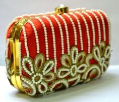Malaga , raw silk  ,  pearl work , bead work , red , gold , clutch  , handy , compact  , party , wedding , royal
