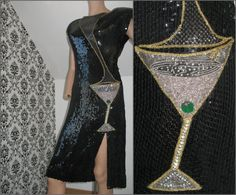 80s Black Sequin Cocktail Dress Beaded MARTINI by LaModeVogue