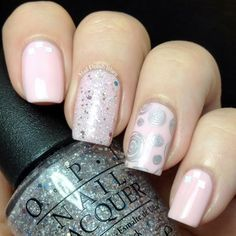 Darling & Delicate #nailart #nails #nudepolish #pink #silver #opi - bellashoot.com