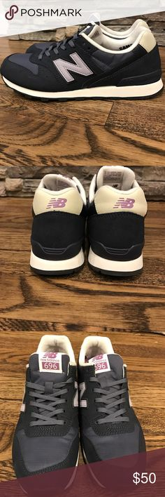 New Balance 696 Brand new size 6 Brand new New Balance sneakers, navy, white and purple. Lace up. These were sample sneakers do not say size inside. No box. These are a size 6 but can fit 6 1/2 New Balance Shoes Sneakers