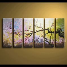 Astonishing Contemporary Wall Art Hand-Painted Art Paintings For Bath Room plum blossom. This 6 panels canvas wall art is hand painted by Bo Yi Art Studio, instock - $162. To see more, visit OilPaintingShops.com