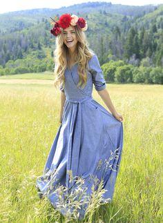 Shabby Apple Talia Wrap Maxi Dress Blue