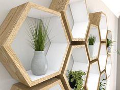 Rustic White Hexagon Wall Shelf in Solid Oak Hexagon Shelves, Solid Oak, Wall Decor, Rustic White, Geometric Shelves, Honeycomb Shelves, Oak Shelves, Home Decor, Hexagon Wall Shelf