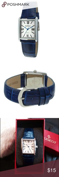 NWT PEUGEOT WATCH Blue Leather Band Rectangle Face NWT PEUGEOT Women's Analog Wrist Watch. Silver Finish Rectangle Face, Roman Numerals, Seconds Hand, Blue Minute & Hour Hands. Rich Blue Leather Band with Adjustable Buckle. Versatile. Classic. Add a Splash of Jewel Tone Color to Any Outfit.  Condition: NWT, NIB, Plastic Lock Intact  Free Lifetime Battery Replacement with registry www.peugeotwatches.com/pages/register-your-watch  Case Material: Stainless Steel, Metal Band Material: Leather…