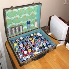 great idea for thread storage, it combines sewing and luggage, could it get any better?