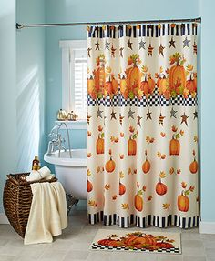 """The Pumpkin & Stars Bathroom Collection brings a warm, seasonal touch to your space. The polyester Shower Curtain (72"""" sq.) sets the theme with a large pattern of pumpkins, country stars and fall leaves. The polyester Window Valance (60""""W x 19-1/4""""L),"""