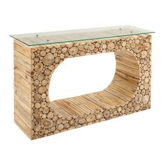 Wood Console Table with Glass