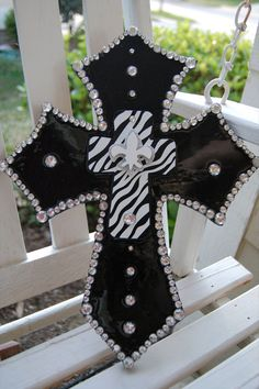 Wooden black cross with zebra print by TheGivingButterfly on Etsy, $35.00