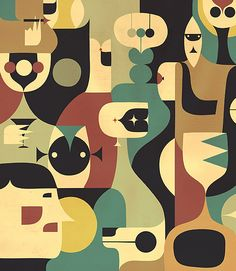 Muted palette, organic shapes, geometric composition, perfect?