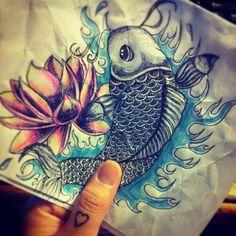 Koi fish & lotus flower