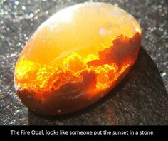 Stunning Mexican Fire Opal looks like a beautiful sunset in the clouds or a fiery explosion with billowing smoke. Photo by Jeff Schultz