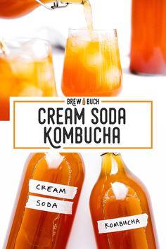 Homemade Cream Soda Kombucha This Cream Soda Kombucha recipe is a deliciously sweet, vanilla flavored kombucha that tastes just like the classic cream soda of childhood! It's full of flavor and a great drink dessert you'll love. Kombucha Flavors, How To Brew Kombucha, Kombucha Tea, Flavored Kombucha Recipe, Kombucha Brewing, Fermentation Recipes, Kombucha Fermentation, Homebrew Recipes, Healthy Recipes