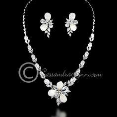 Pearl Flower CZ Bridal Jewelry