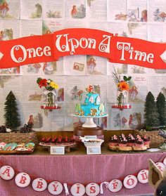 Baby Shower:  Once Upon A Time  Used classic books as favors, Golden Books as decorations, Box lunches with Golden Book pictures, Guests brought favorite children's books.