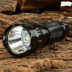 Ultrafire 600lm 5-Mode White Light LED Flashlight w/ Strap - Black (1 x 18650)
