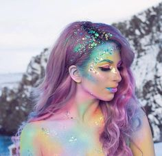 Halloween Make Up Ideas – Great Make Up Ideas Unicorn Makeup, Mermaid Makeup, Mermaid Fantasy Makeup, Unicorn Face, Halloween Makeup Artist, Halloween Makeup Unicorn, Pastel Galaxy, Looks Halloween, Halloween Party