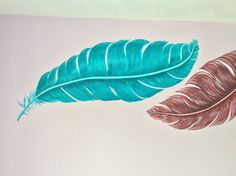 Feathers painted on a bedroom wall. Murals by Wallworx