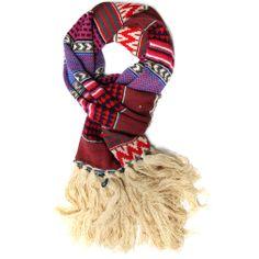 Fuchsia aztec knit scarf