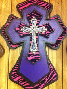 Pink and Purple Zebra Print Cross