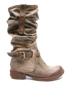 Look what I found on #zulily! Khaki Too Falcon Slouch Boot by Two Lips...hurry and please get my size in stock