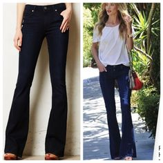 Paige Sample - Long length flare bottom denim Sample, not completely tagged, dark blue Paige Jeans Jeans Flare & Wide Leg