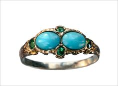 1870-80s Turquoise  Emerald Ring, 12K Gold (in the online shop tomorrow)