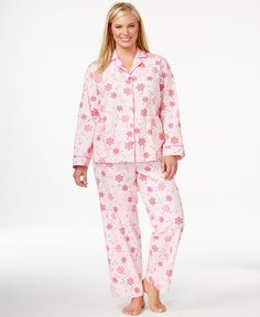 Charter club plus size flannel notch collar top and pajama pants set