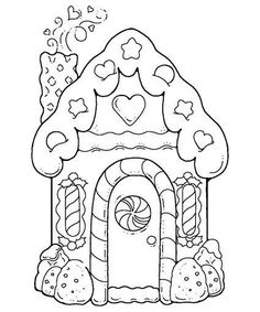 gingerbread house printable coloring pages for kids.free online gingerbread house printable coloring pages for preschool. House Colouring Pages, Coloring Book Pages, Printable Coloring Pages, Coloring Sheets, Christmas Colors, Christmas Art, Xmas, Christmas Pictures, Pin Up Pictures