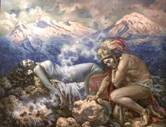 The Legend of the Volcanoes (1940) by Jesus Helguera