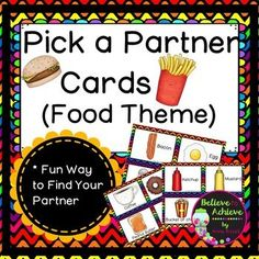 Your students will LOVE using these cards to find a partner! Just copy, laminate,and cut out. Then simply shuffle the cards and have students pick a card and find the matching one to find out who their partner is for a game or project. I've included enough cards  with pictures and words for 40 students!