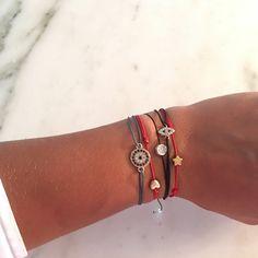 Naz Collection Crystal Black String Bracelet