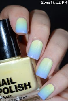 Blue and yellow gradient nails