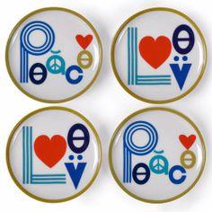 Jonathan Adler 'Peace and Love' Coaster Set