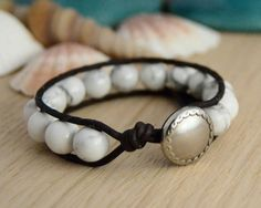 IDEA .... Chunky beaded bracelet. White howlite beads on dark brown leather. on Etsy, $30.71
