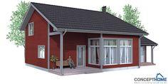 Small house plan to narrow lot. High ceiling, covered terrace, big windows, three bedrooms, spacious living area.