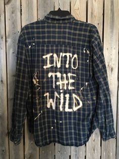 "Plaid flannel ""Into The Wild"" hand bleached soft grunge"