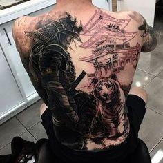 Black Ink Samurai With Tiger Tattoo On Man Full Back