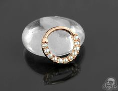 14K rose gold Akoya pearl eternity clicker